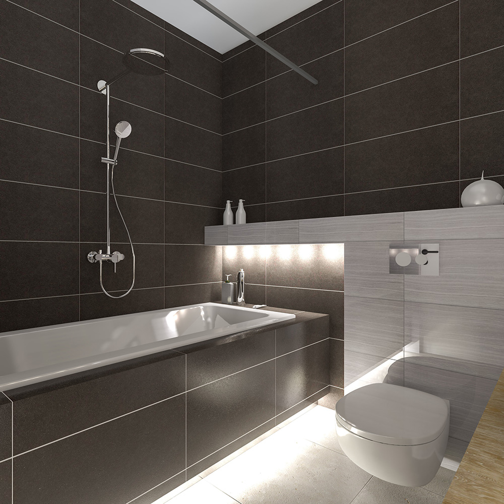 newly fitted black tiled bathroom with shower, bath and toilet