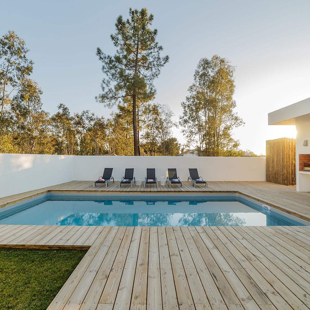 installed decking surrounding swimming pool