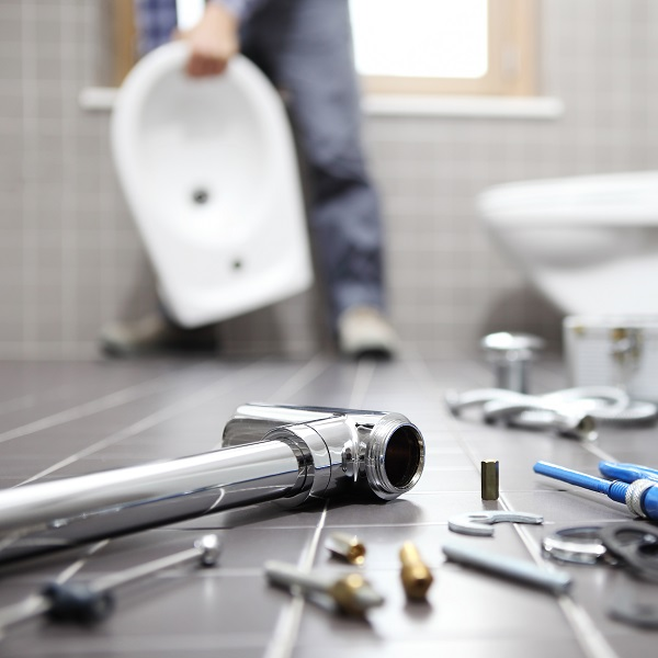tools on bathroom floor